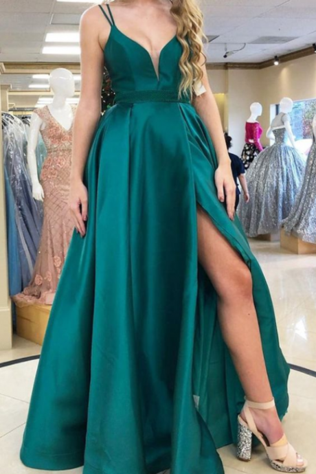 A-line Green Long Prom Dress with Slit, Prom Dress with Double Straps