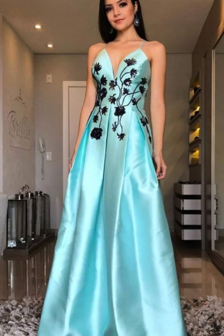A-Line Beaded Jewel Pearls Dress,Blue Party Gown,Halter Prom Dress