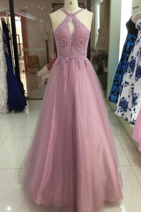 Charming Tulle Halter Neckline A-line Prom Dresses With Beaded Appliques ,Custom Made,Party Gown,Cheap Evening dress