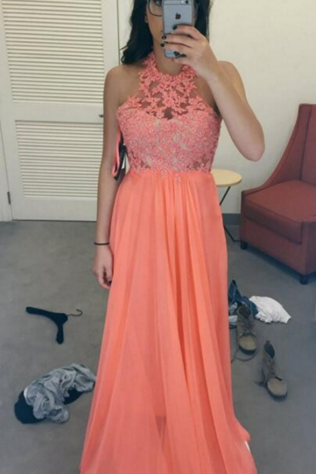 A-Line Halter Prom Dresses,Lace Chiffon Prom Dress