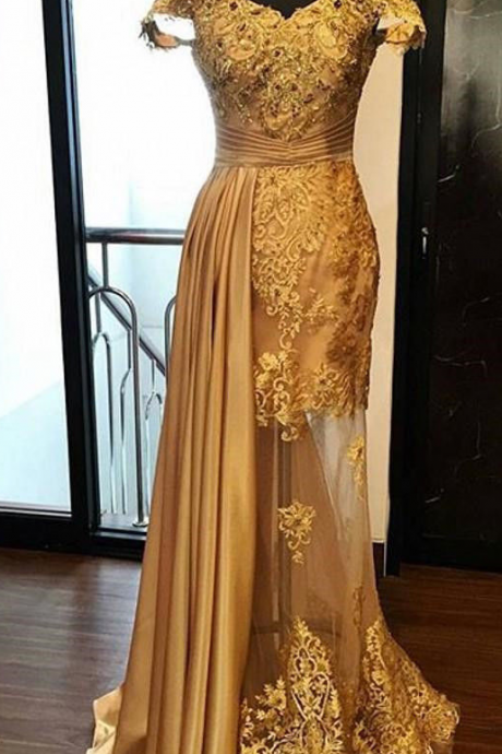 Off the Shoulder Gold Prom Dress Pageant Dress with Illusion Skirt