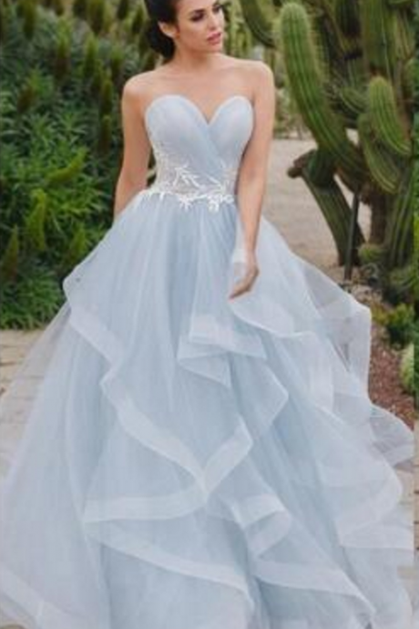 Simple Style Skye Blue A Line Wedding Dresses Sweetheart Neck With White Lace Ruffles Train Corset Back Boho Beach Bridal Party Gowns