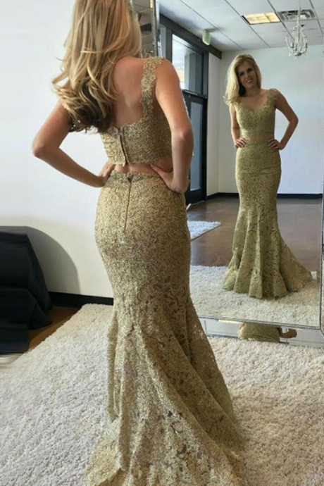 Gold Lace Two Pieces Prom Dress