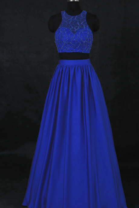 Sexy Royal Blue Beaded Two Piece Prom Dresses , Long Elegant Satin A Line Evening Gowns - Formal Gowns, Party Dresses
