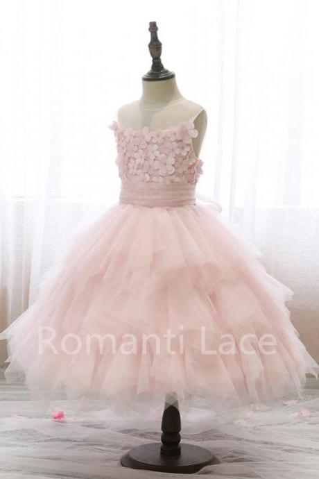 Flower Girl Dress,Cap Sleeves Flower Girl Dresses, Flower Girl Dresses,Princess Child Dress