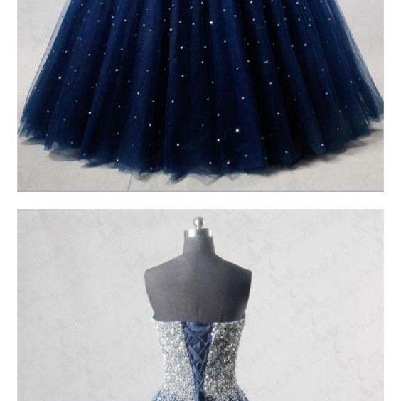 Navy Blue Strapless Floor Length Prom Ball Gown with Beading/Sequins