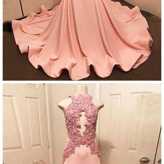 Trumpet/Mermaid Prom Dress High Neck Pink Satin Applique Blush Prom Dresses Long Evening Dress