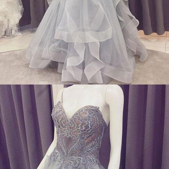 Gray lace tulle long prom dress, sweetheart neck evening dress