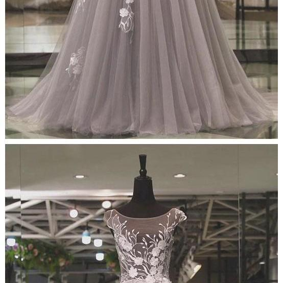 Light gray tulle lace applique long prom dress, gray evening dress,backless party dress