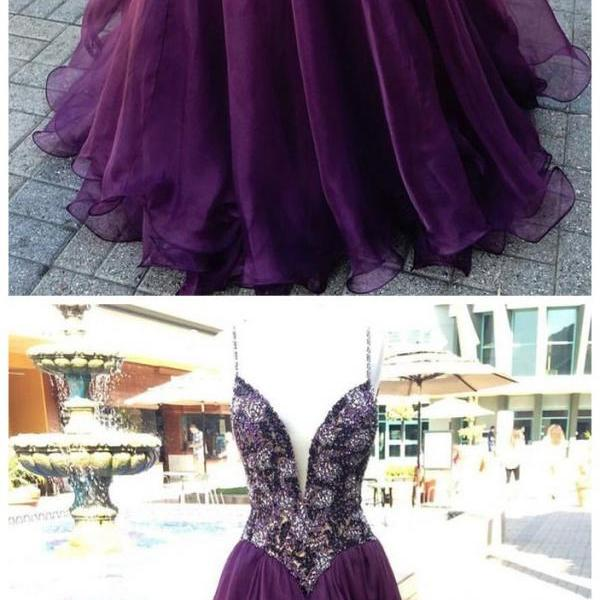 unique v neck purple beads tulle long prom dress, evening dress