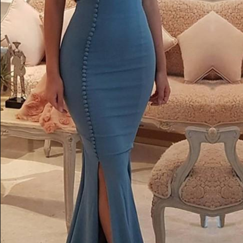 Newest V-neck Mermaid Prom Dresses Button Style Night Gown New Arrival Custom Made Party Dresses Evening Prom Gowns Side Split