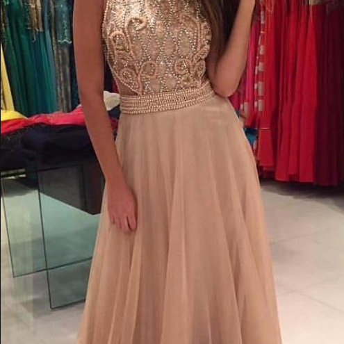 Gorgeous Long Prom Dresses With Scoop Neckline Pearls Beaded Floor Length Sleeveless Tulle Evening Dress Gowns Vestido De Fiesta