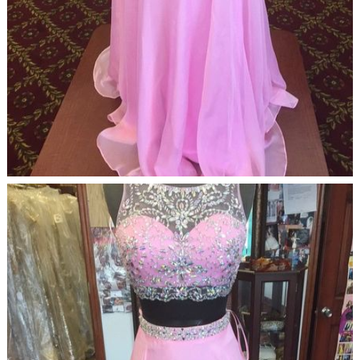 Beaded Chiffon Prom Dress, A-line Evening Dresses, Two Pieces Prom Dress,Pink Chiffon Prom Dresses,Two Pieces Party Dresses,Prom Dresses