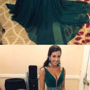 A-Line V-Neck Sweep Train Dark Green Chiffon Prom Dress with Beading