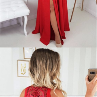 elegant red chiffon prom dress with pleats, fashion a-line red evenings dress with split