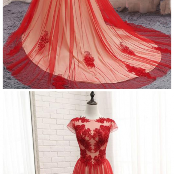 Gorgeous Red Tulle Gown, Red Formal Dress, Elegant Party Gowns