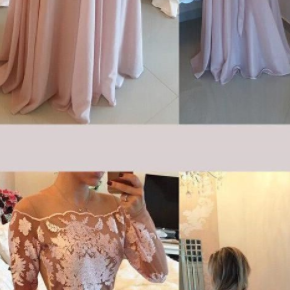 Full Sleeve Prom Dress, Sexy Sheer Back Long Evening Dresses, Appliques Pink Prom Gowns