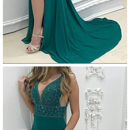 Hunter Green Prom Dresses with Beading Sequined Sparkly Side Split Sheath V Neck Formal Elegant Evening Party Gowns
