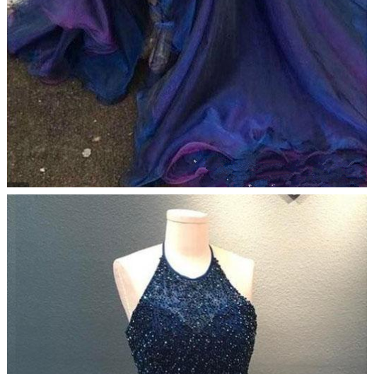Modest High Low Prom Dresses Halter Backless Major Beading Tired Skirt Organza Royal Blue Evening Party Graduation Gowns Customized