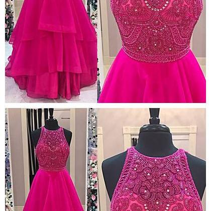 Sparkly Beaded Bodice Fuchsia Prom Dresses,Fashion Prom Dress,Sexy Party Dress,Custom Made Evening Dress