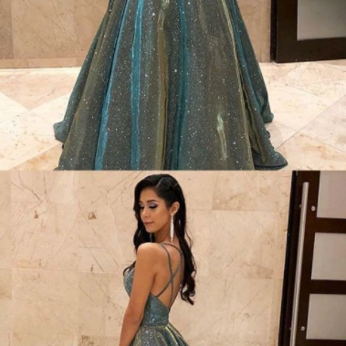 Sparkly Sexy Spaghetti Straps Sage Sleeveless Long Prom Dress with Sequin Evening Dress