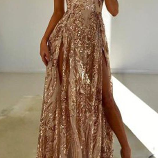 Fabulous A-line Double Slit V-neck Sleeveless Prom Dresses with Sequins,